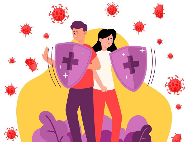 Zwei Schilder Ihrer Immunabwehr